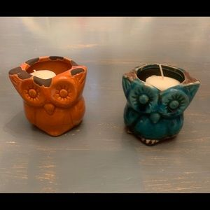 Two cute ceramic owls candles included in price!